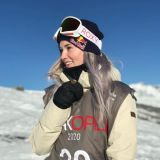 Britain's Katie Ormerod On The Podium at Laax Open 2020