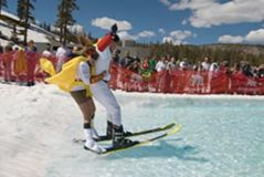 Has anyone tried pond-skimming in a ski resort?