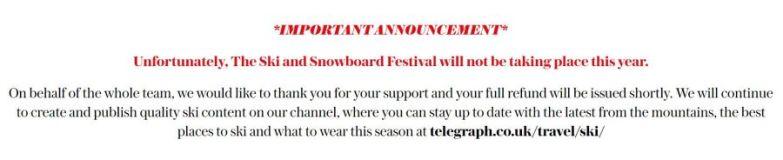 London Ski Show Cancelled