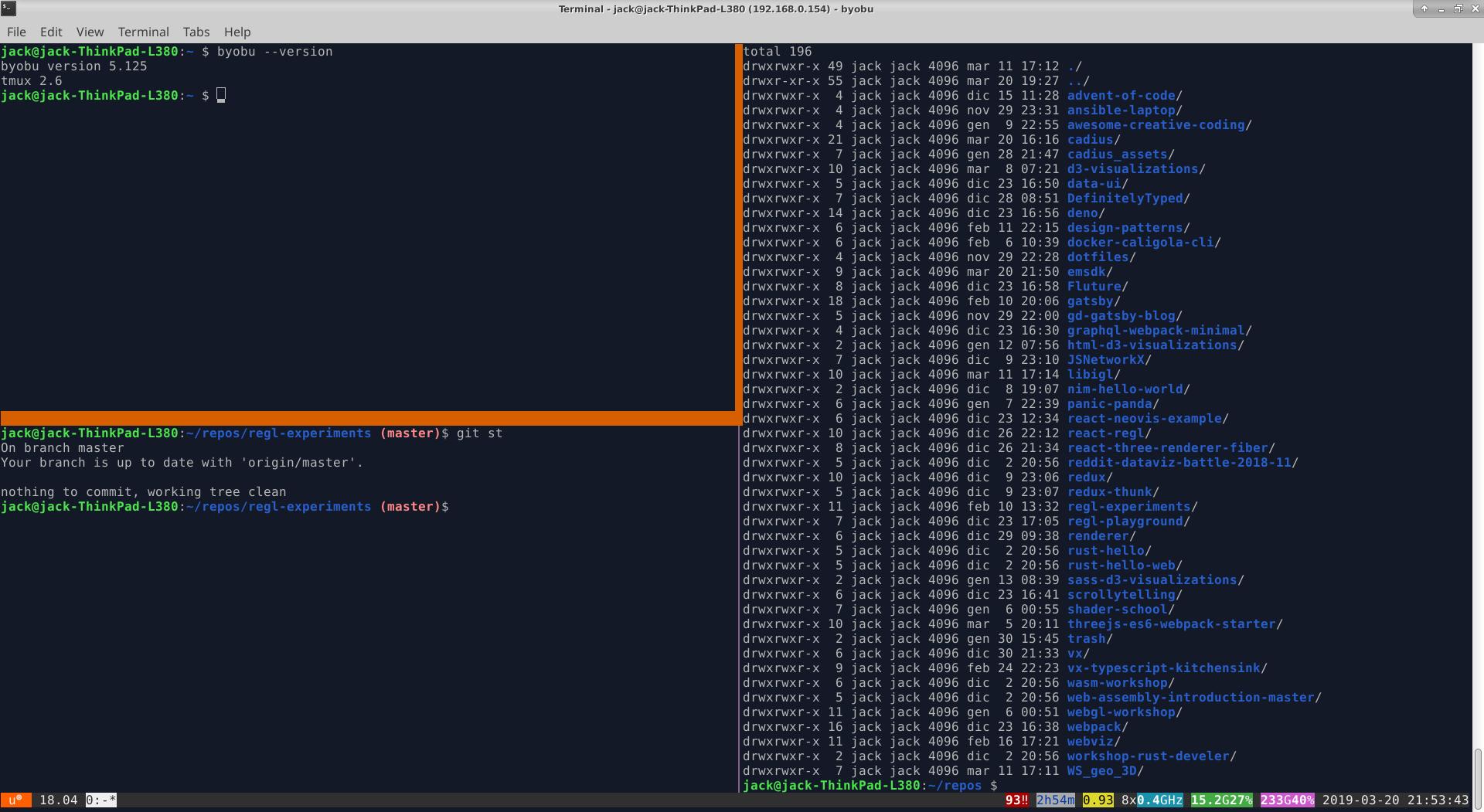 A screenshot of Byobu on my Xubuntu system