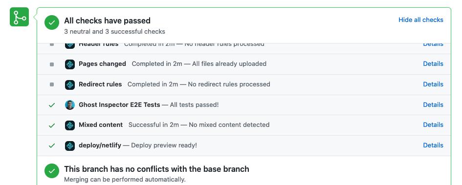Alt GitHub PR summary where all checks passed