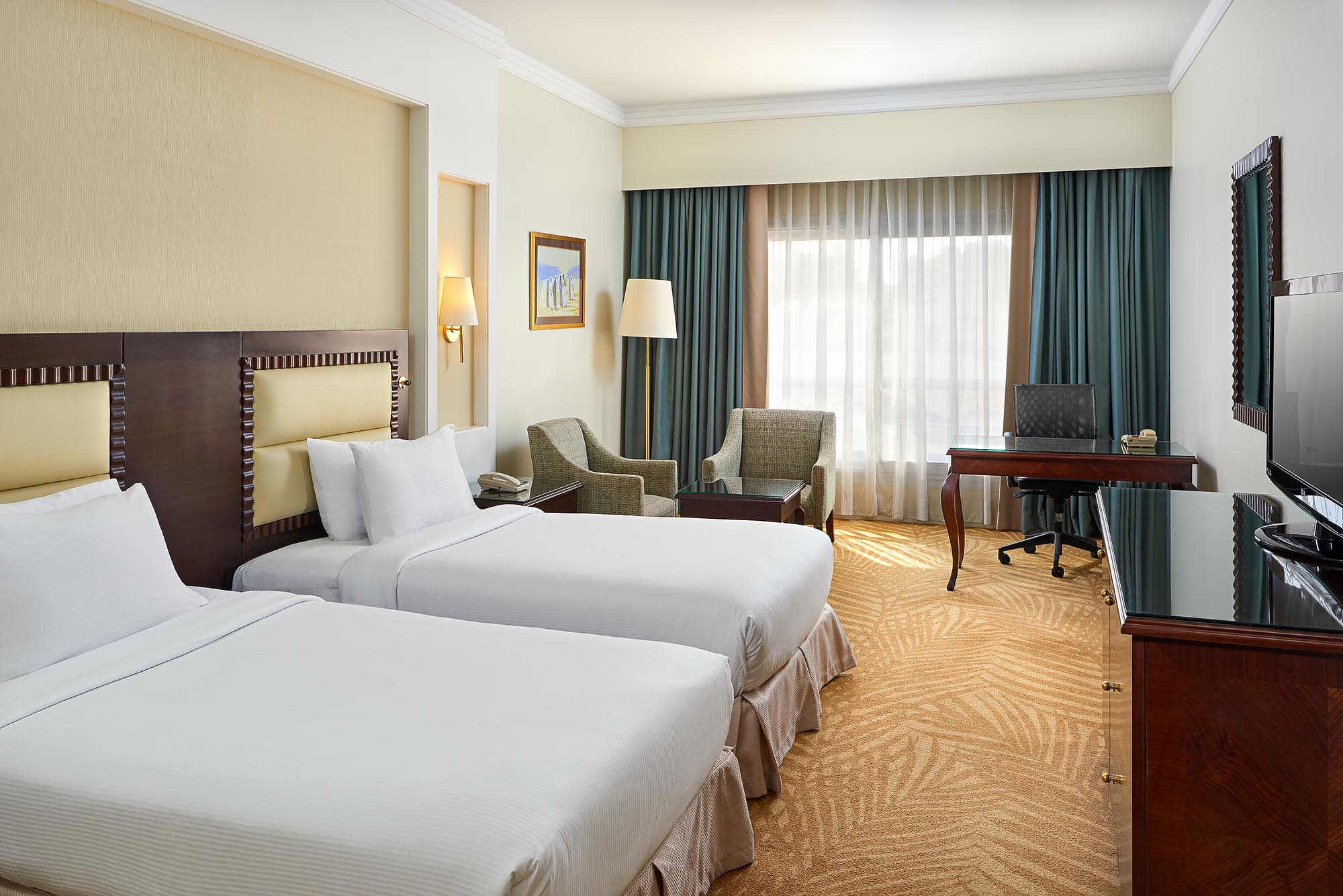 Twin Bedroom Guestroom - Hilton Alexandria Green Plaza - Mohamed Abdel-Hady Photography