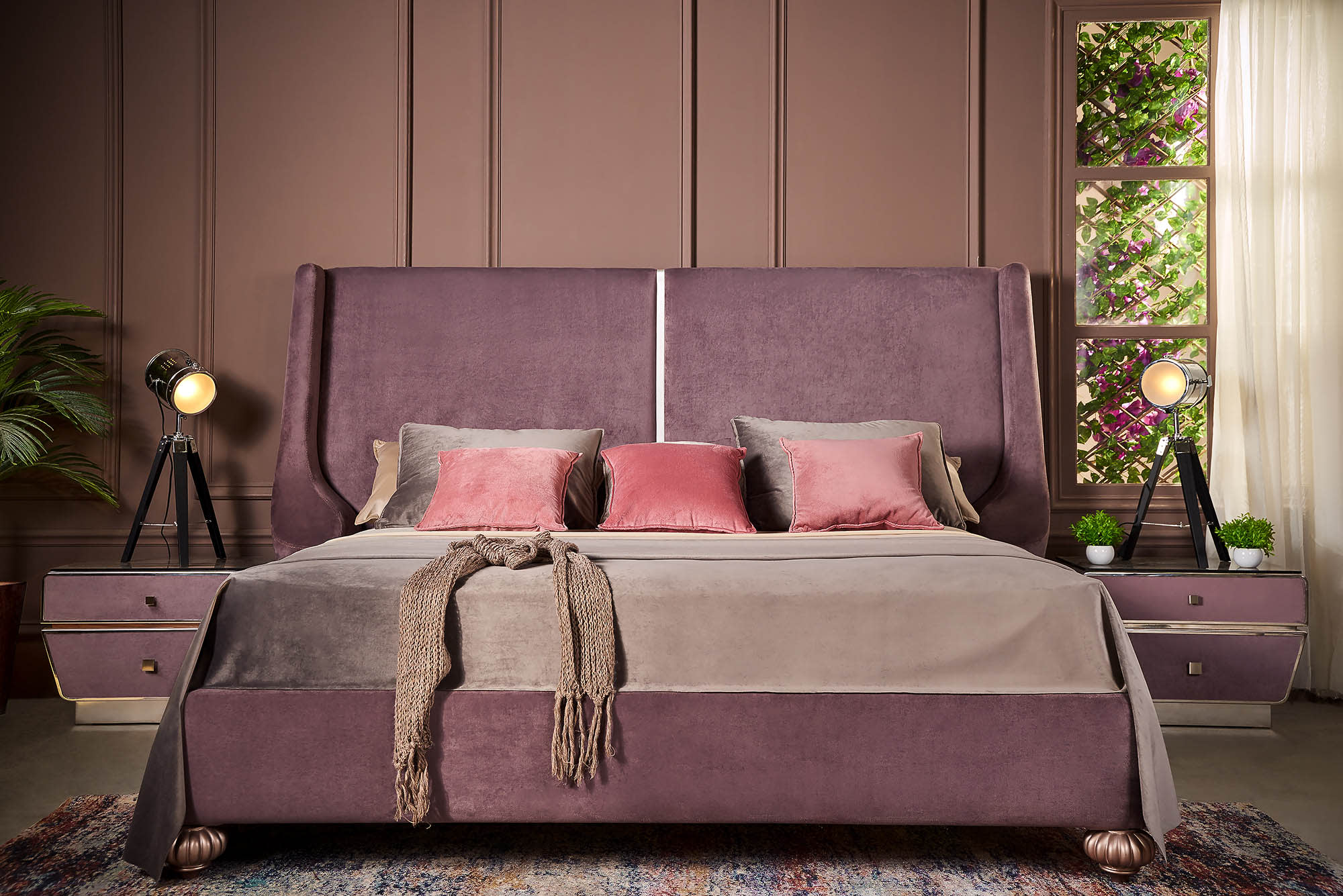 Luxury purple velvet bedroom - Richie by Shoulah - Furniture Photography - Egypt