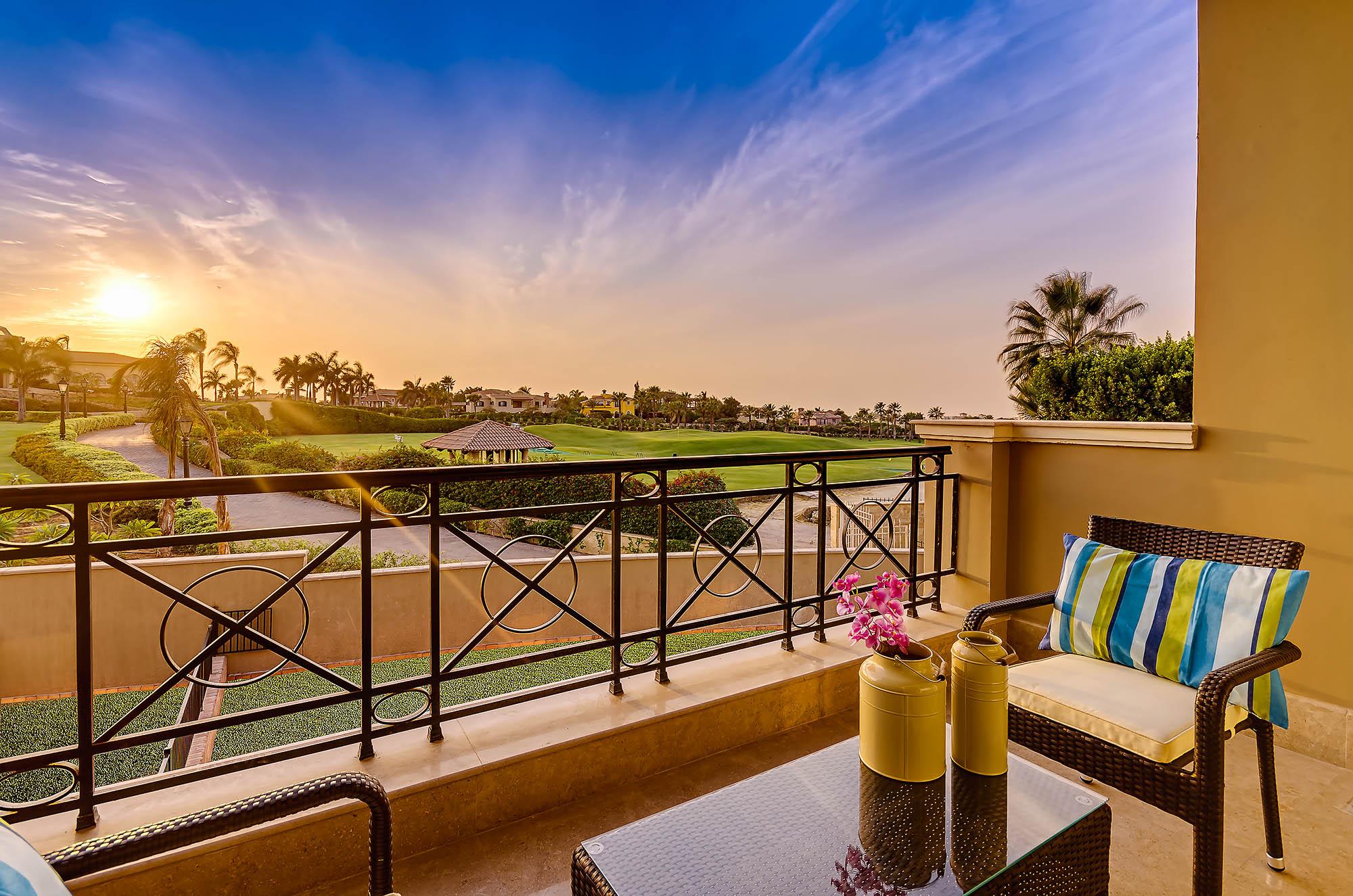 Balcony view sunset - HSI - Katameya heights - Interiors photography Egypt - Mohamed Abdel-Hady