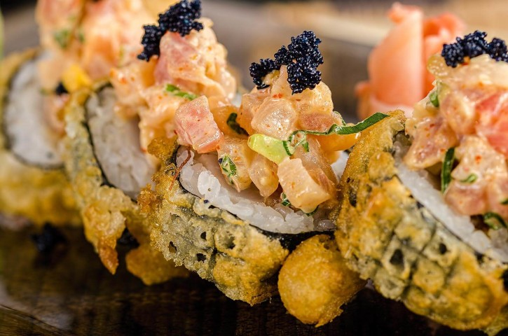Fried sushi rolls photographed for TAO at Alexandria by Mohamed Abdel-Hady the food photographer