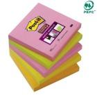 Post-it 76x76mm Super Sticky notatblokk  654SN assorterte farger