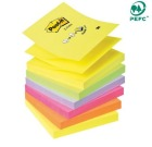 Post-it 76x76mm notatblokk Z-Notes R330 assorterte farger (6)