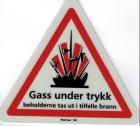 """Skilt """"Gas under trykk"""" 20x18x18cm"""