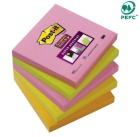Post-it 76x76mm Super Sticky notatblokk  654SN assorterte farger