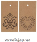 Merkelapper Jul, papp m/hull og dekor, brun kraft/brun, 50x90mm (250)