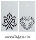 Merkelapper Jul, papp m/hull og dekor, hvit/sort, 50x90mm (250)