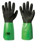 PVC hanske sort m/grønn mansjett 35cm