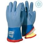 Arctic blå vinylhanske 32 cm m/løst pelsfór