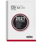 Sjefskalender GRIEG A4 spiral refill 2021