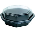 Plastbeger m/lokk 640ml 190x190x60mm Sort/Klar (270)