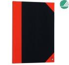 Kinabok A4 96 blad linjer sort/rød