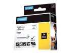 Tape DYMO Rhino vinyl sort/hvit 12mm