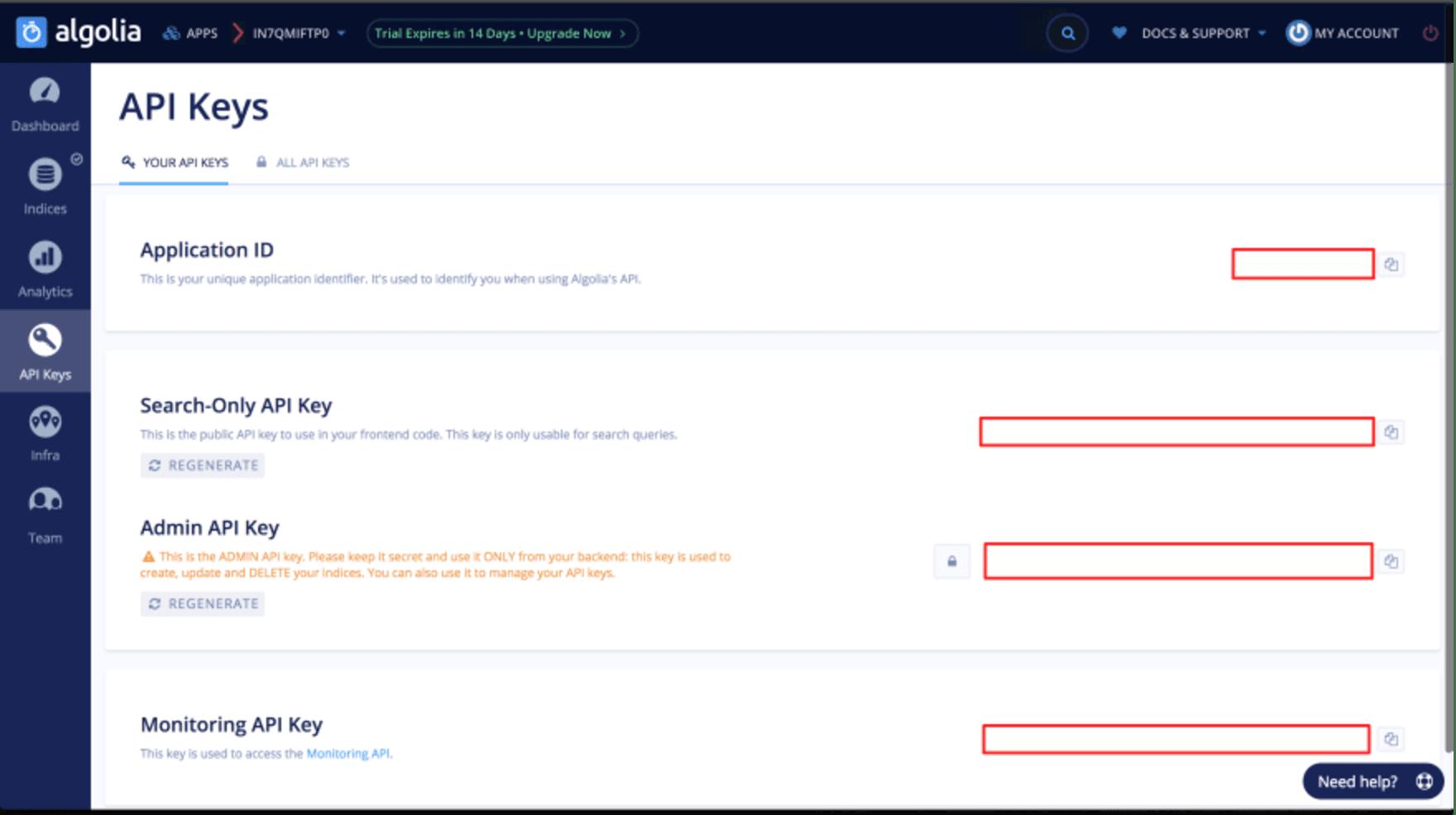 Les différentes clés d'API d'Algolia