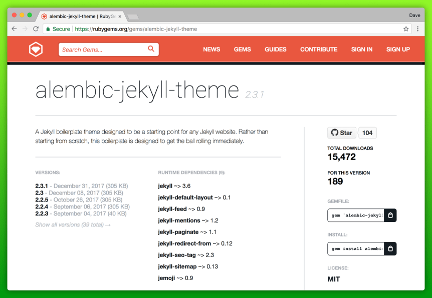 Exemple de page Rubygems