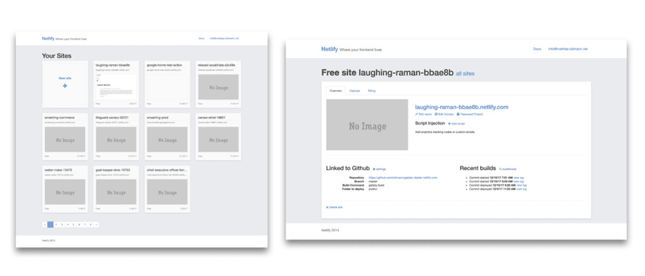 Les premiers prototypes du site de Netlify sont encore accessibles en ligne