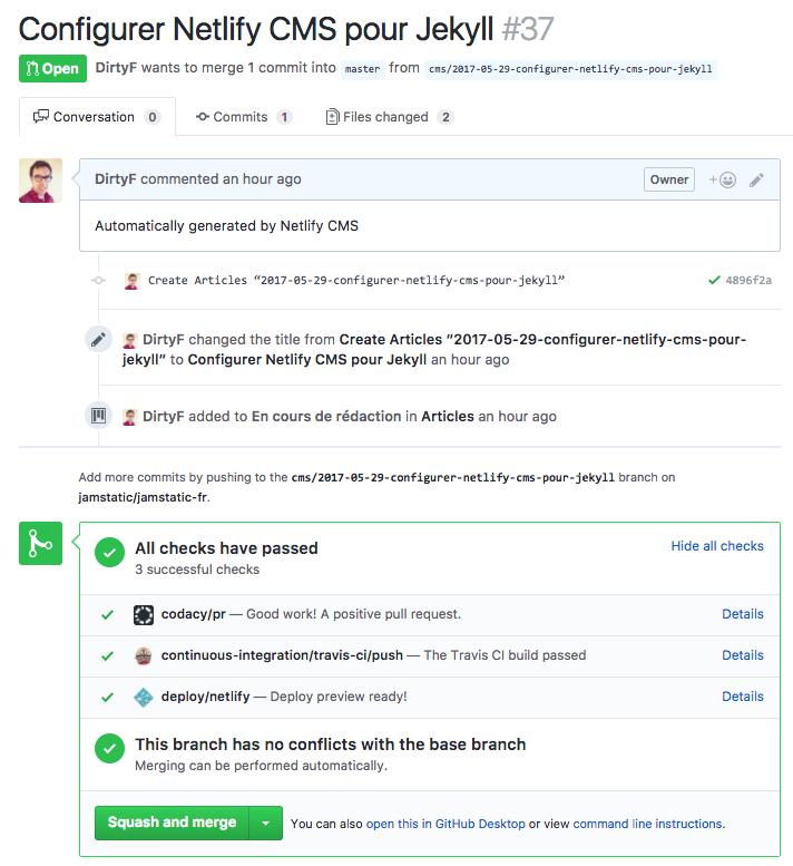 Lors de la sauvegarde d'un nouvel article, une pull request est créée sur GitHub avec un lien vers une URL de prévisualisation