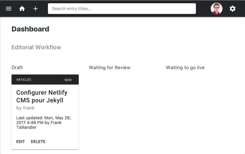 Aperçu du workflow de publication de Netlify CMS