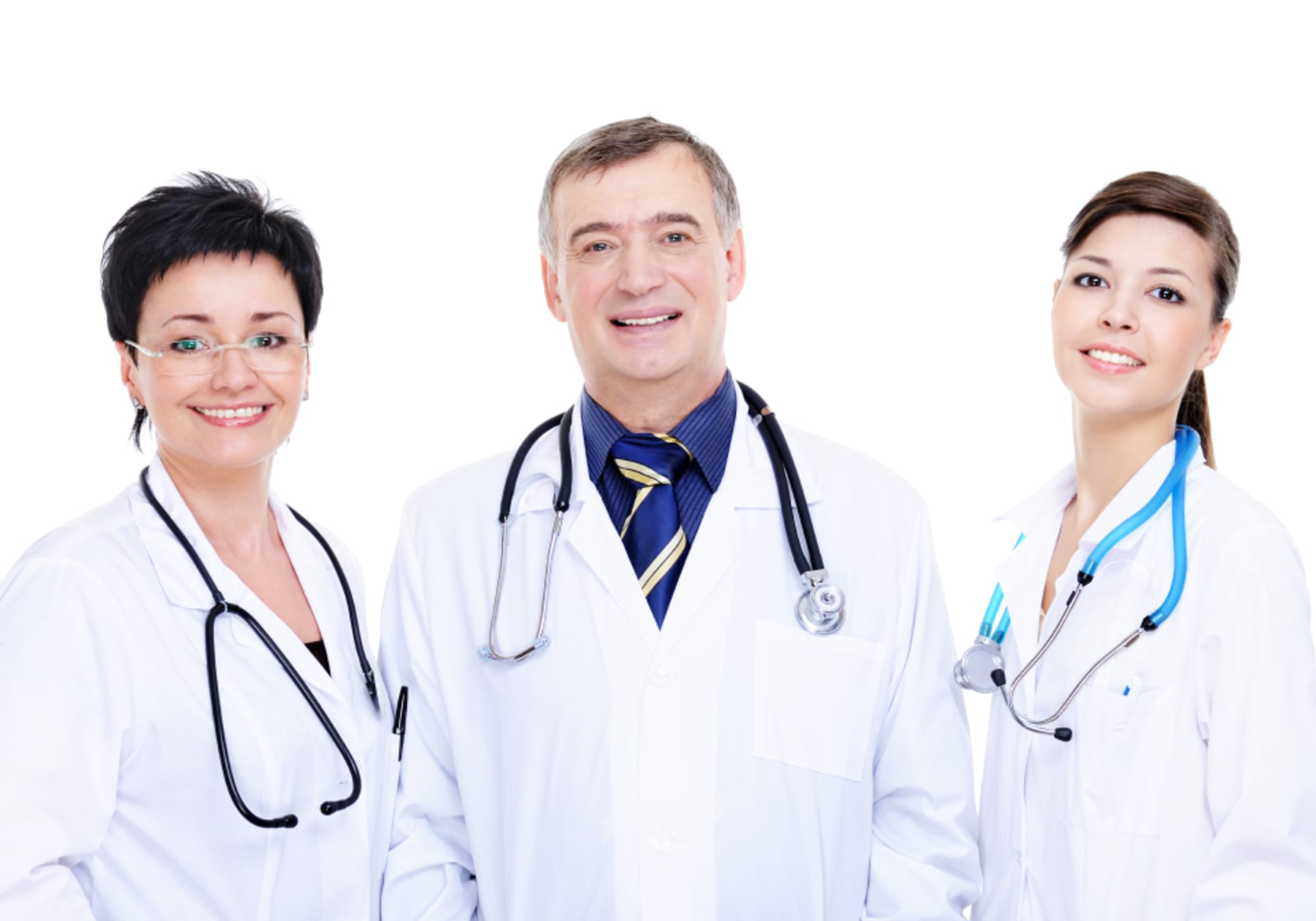 Front view three happy medical doctors standing together