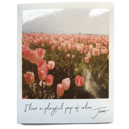 Jane's Quote with Tulips background
