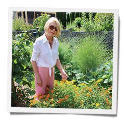 Jane in her flower garden