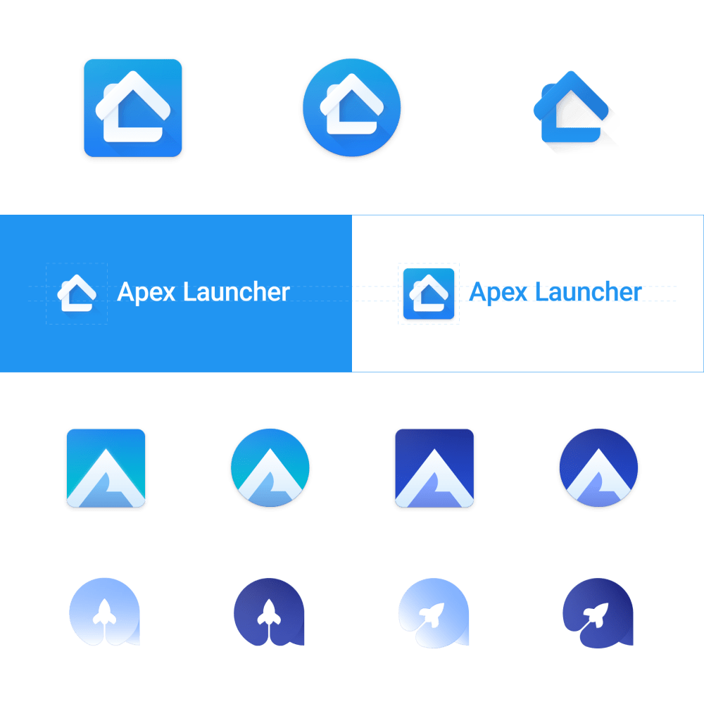 Logo concepts for Apex Launcher, an Android app