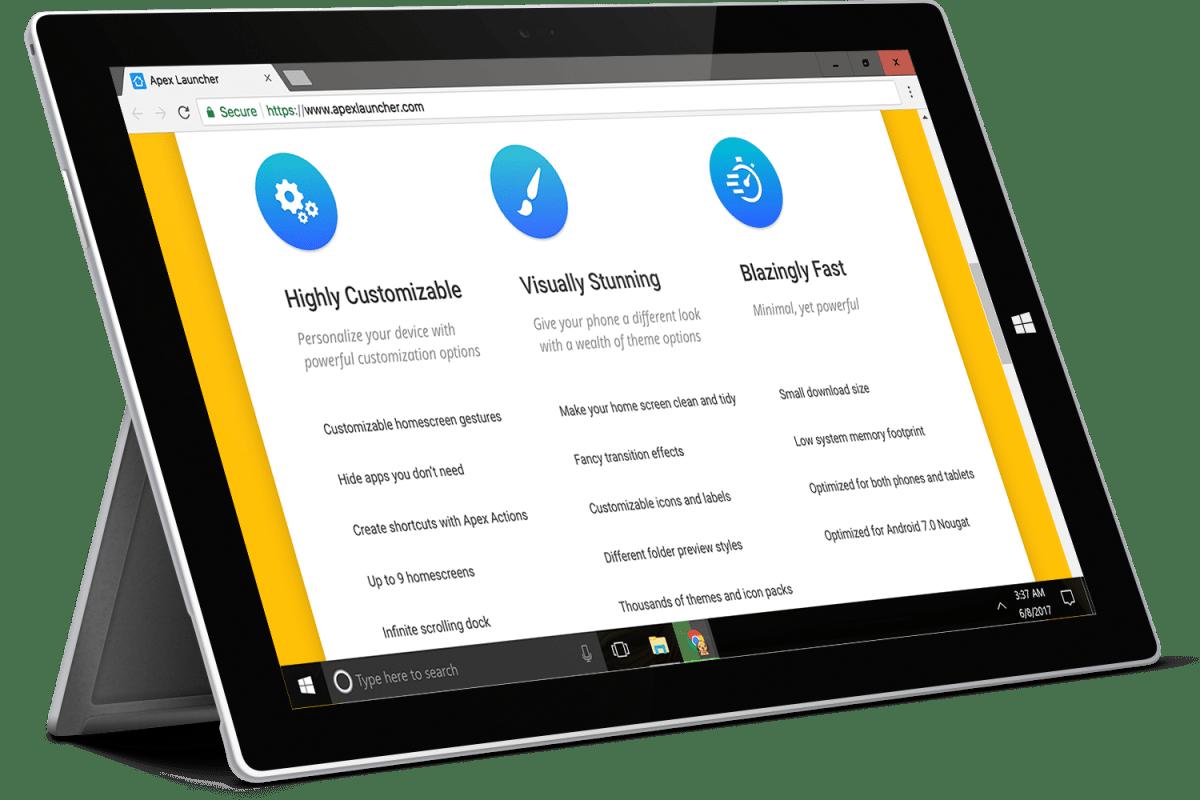 Apex Launcher website on a computer screen
