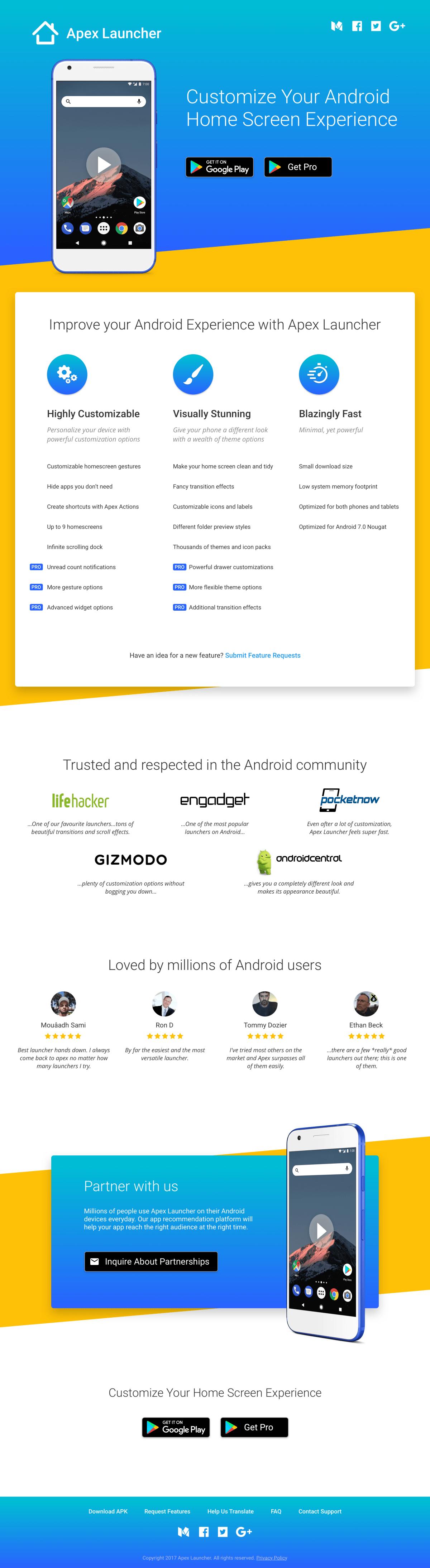 Apex Launcher website