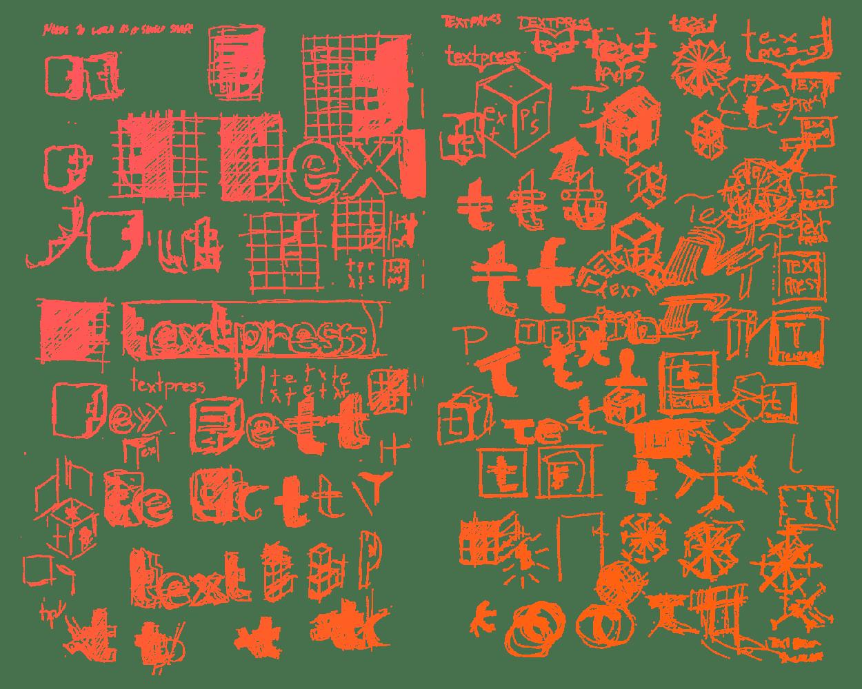 Sketch concepts for the Textpress logo