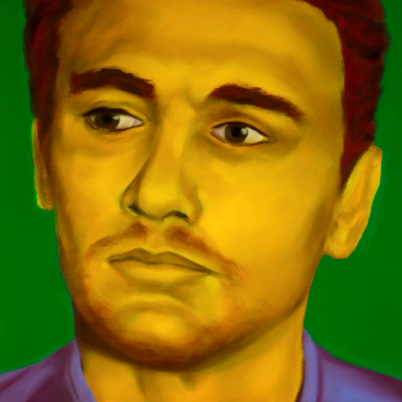 An oil portrait of James Franco