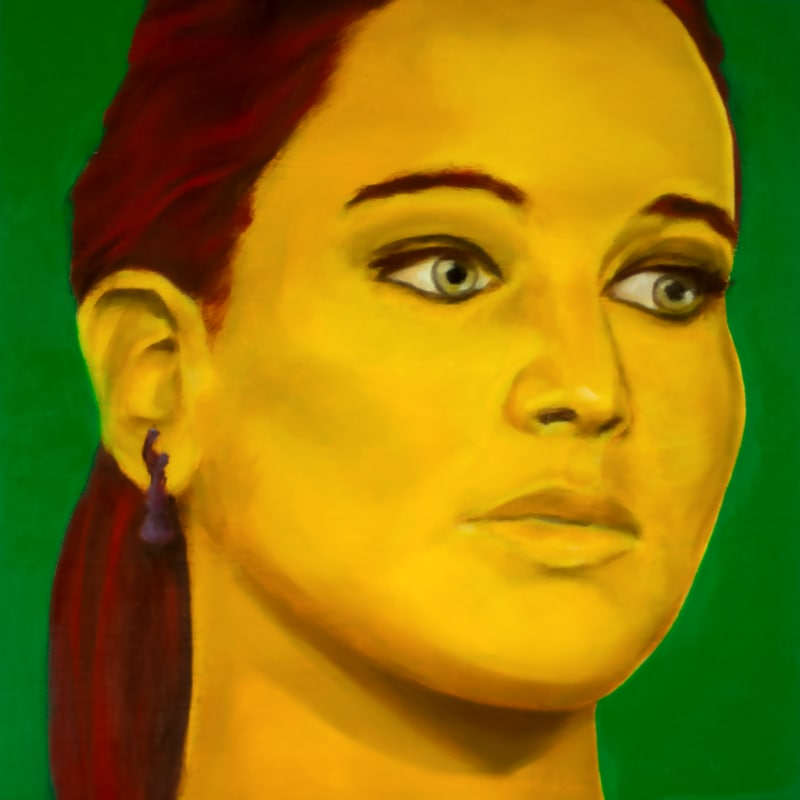 An oil portrait of Jennifer Lawrence