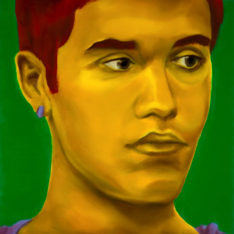 An oil portrait of Justin Bieber