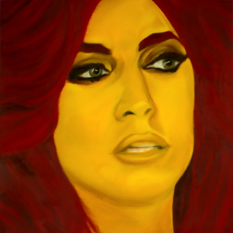 An oil portrait of Lady Gaga