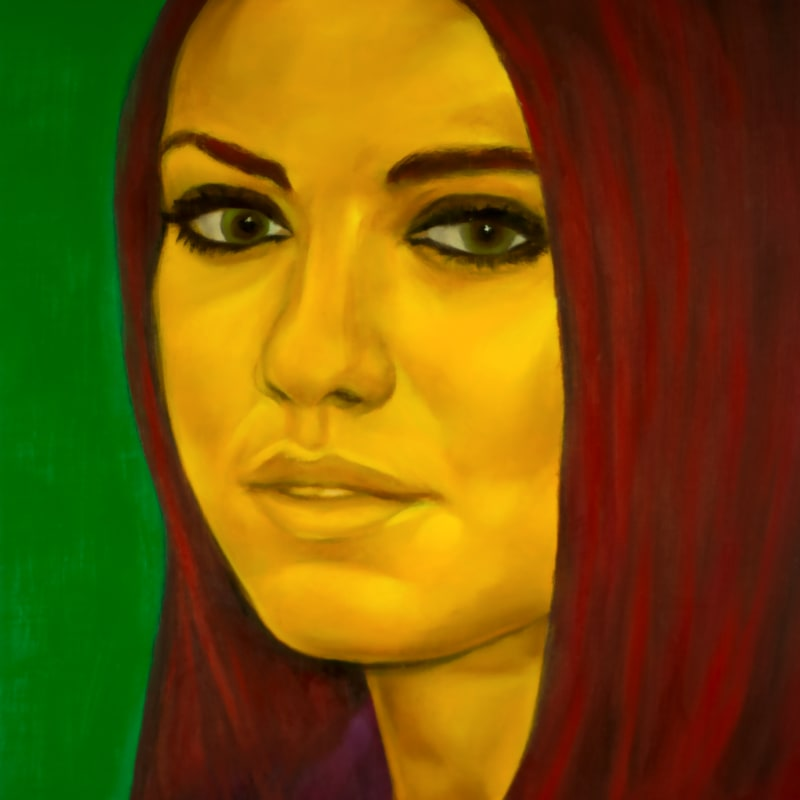 An oil portrait of Mila Kunis