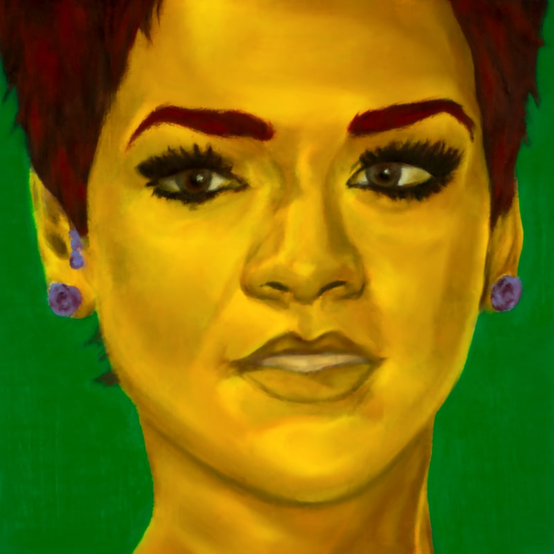 An oil portrait of Rihanna