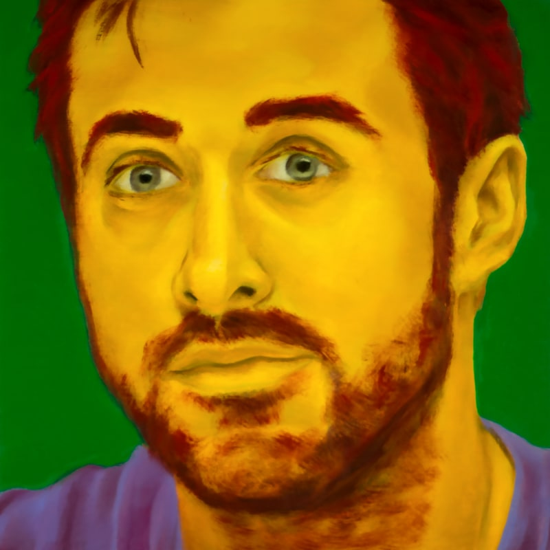 An oil portrait of Ryan Gosling