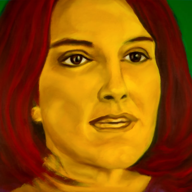 An oil portrait of Tina Fey
