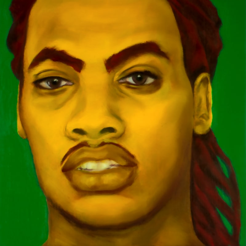 An oil portrait of Waka Flocka Flame