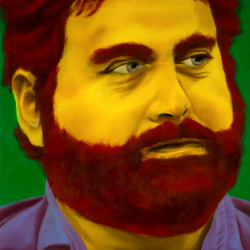 An oil portrait of Zach Galifianakis