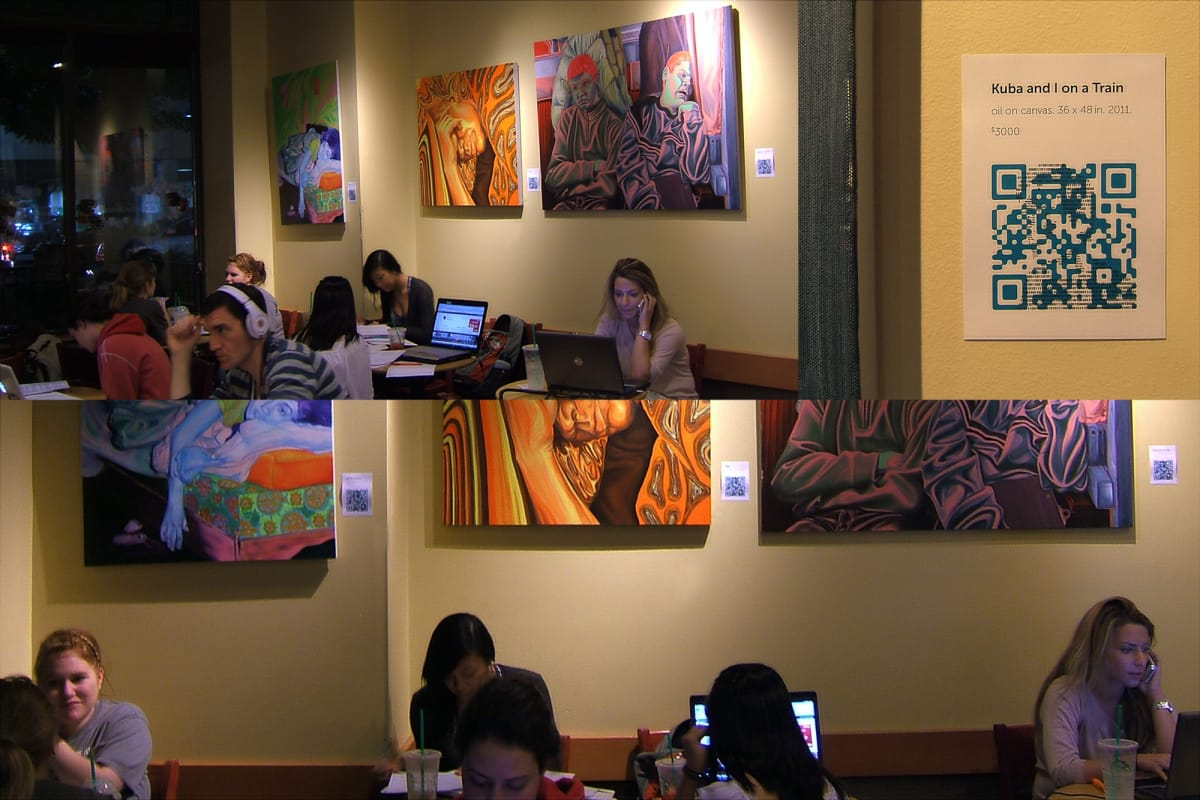 An exhibition of the paintings at a Starbucks location.