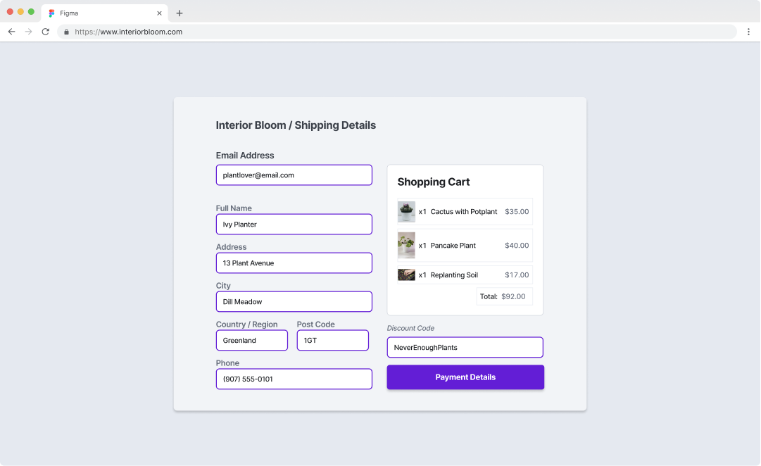 An example of the Scaffold Shopping Cart Checkout Flow