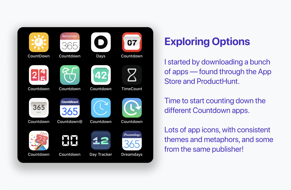 I started by downloading 16 apps, with the app icons pictured here. Icons range from traditional calendars to countdown timer illustrations. Image includes text that reads: Exploring Options. I started by downloading a bunch of apps — found through the App Store and ProductHunt. Time to start counting down the different Countdown apps. Lots of app icons, with consistent themes and metaphors, and some from the same publisher!