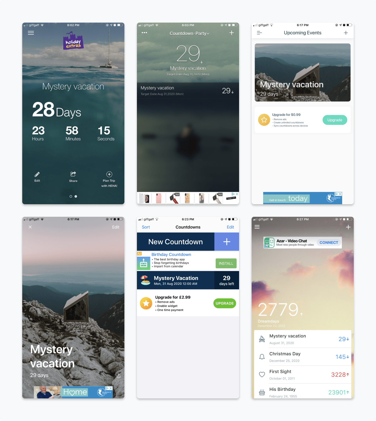 A 6 image grid of some of the apps that got removed from options early-on. Images show poor layout, difficult to read typography, overwhelming ads and generally poor user experiences.