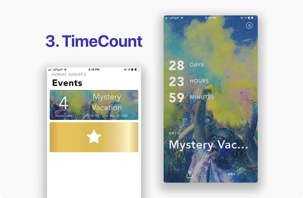 The TimeCount app screenshots show large images for each upcoming event, offering the best list visual experience for future events. A large golden star asks for upgrades, which can be distracting.
