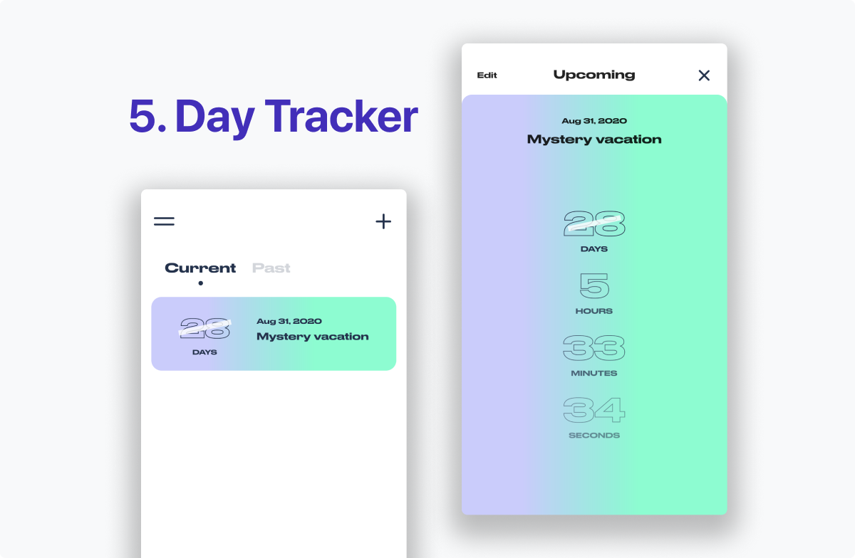 Day Tracker has a bright, bold visual identity. Lots of neon green and lilac blue. Lovely, but very bright.