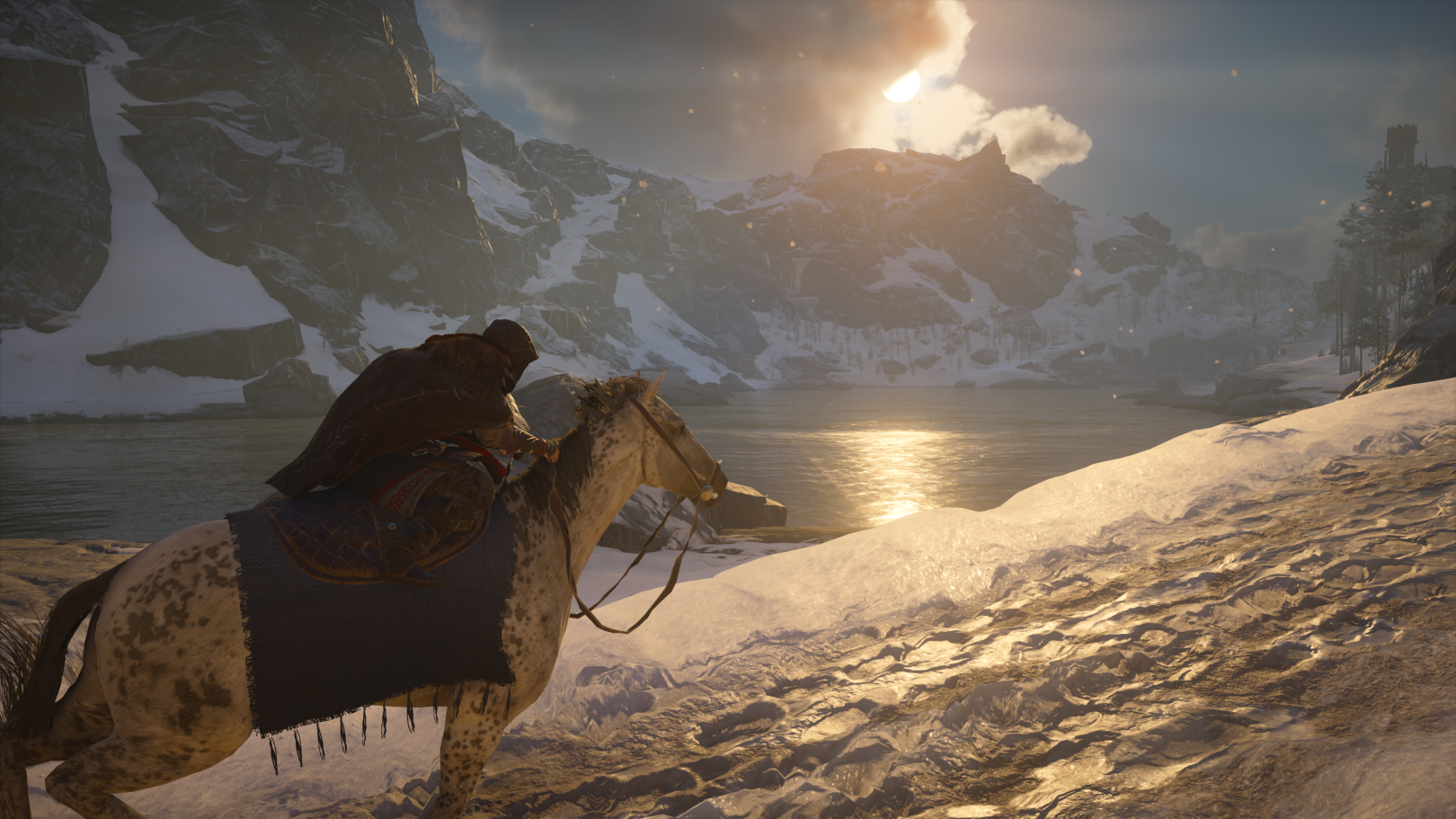 Riding a horse in Norway in Assassin's Creed Valhalla